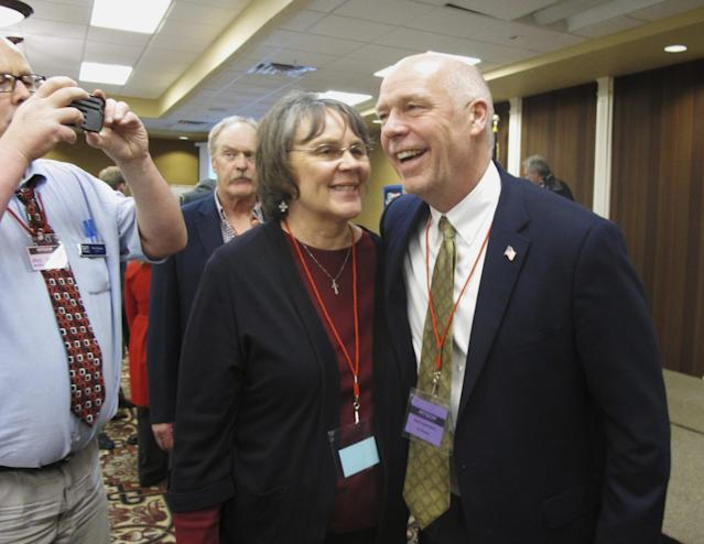 Greg Gianforte, right, with a supporter after winning the Republican nomination for Montana's special election for U.S. House last March. (Photo: Matt Volz/AP)