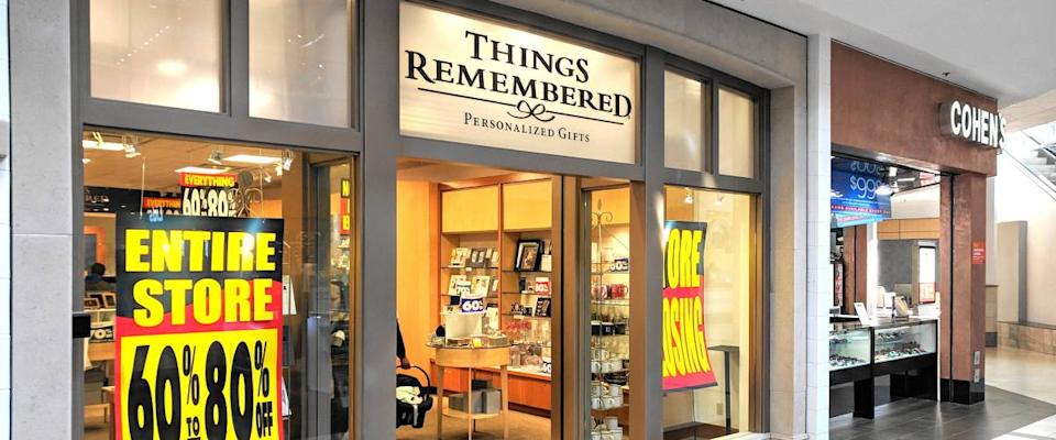 A Things Remembered store's going out of business signs in Waterford, Connecticut.