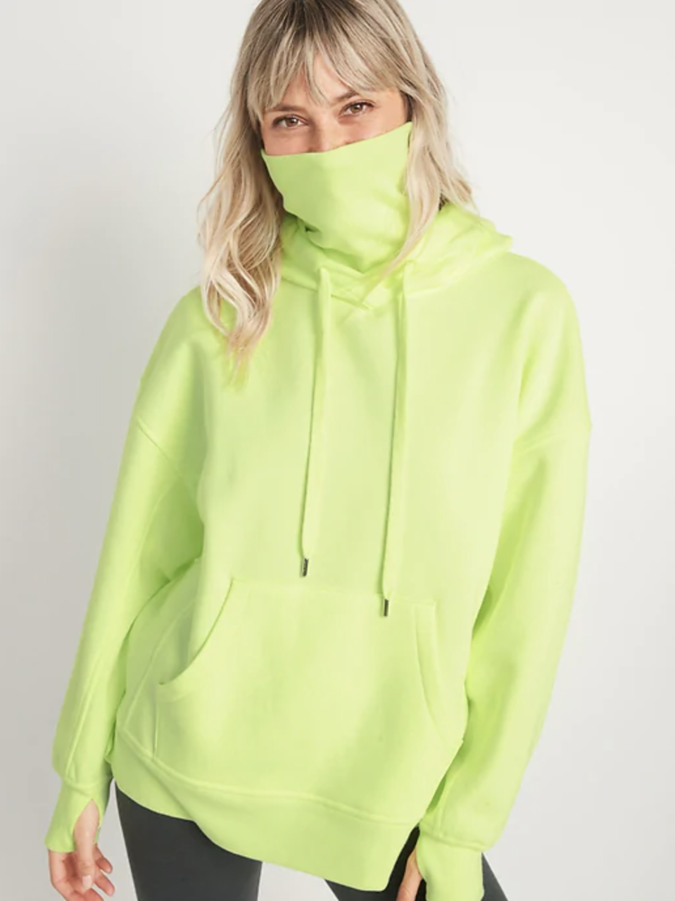 Oversized Rib-Knit Funnel-Neck Pullover Hoodie for Women in light bulb. Image via Old Navy.