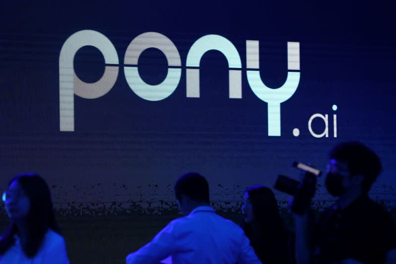 Logo of the autonomous driving technology startup Pony.ai is seen on a screen, in Beijing