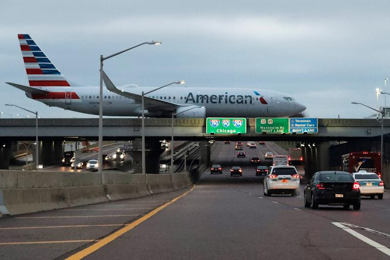 An American Airlines flight arrives at O'Hare airport in Chicago.