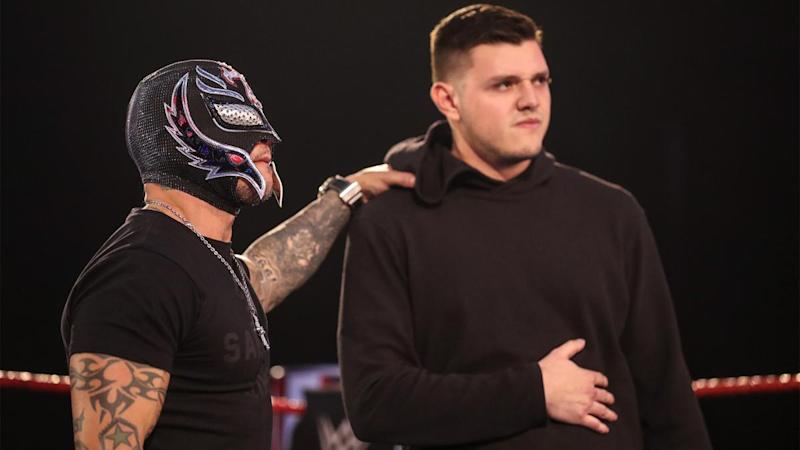 Rey and Dominik Mysterio are seen during an episode of 'Monday Night Raw.' (Photo credit: WWE)