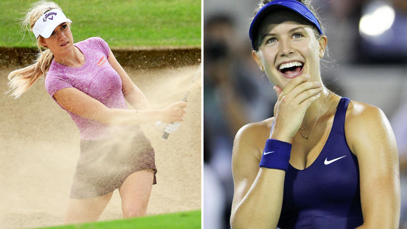 Paige Spiranac and Eugenie Bouchard, pictured here in action in golf and tennis.
