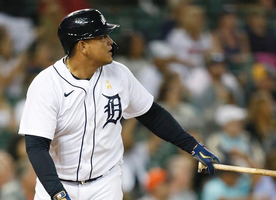 Detroit Tigers' Miguel Cabrera watches his two-run home run against the Oakland Athletics during the fourth inning of a baseball game Wednesday, Sept. 1, 2021, in Detroit.
