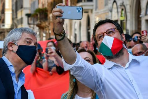 The event was Matteo Salvini's first appearance at a rally since the coronavirus outbreak hit the peninsula in mid-February