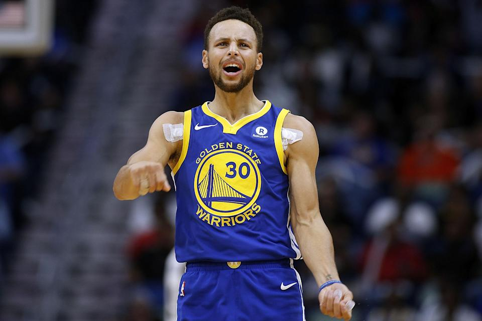 Stephen Curry during the first half of Monday's game against the Pelicans. (Getty)