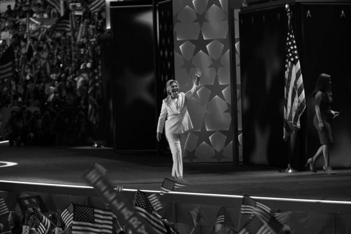 <p>Hillary Clinton waves to the crowd at the DNC in Philadelphia, PA. on Jauly 28, 2016. (Photo: Khue Bui for Yahoo News)</p>