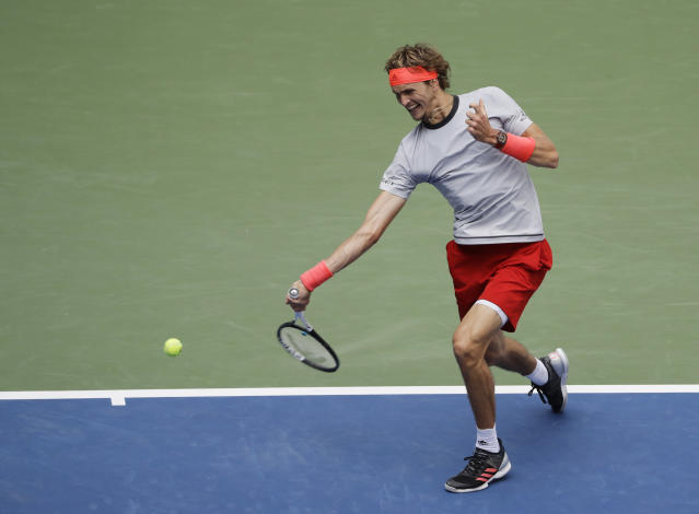 Alexander Zverev, of Germany, returns a shot to Nicolas Mahut, of France, during the second round of the U.S. Open tennis tournament, Thursday, Aug. 30, 2018, in New York. (AP Photo/Seth Wenig)