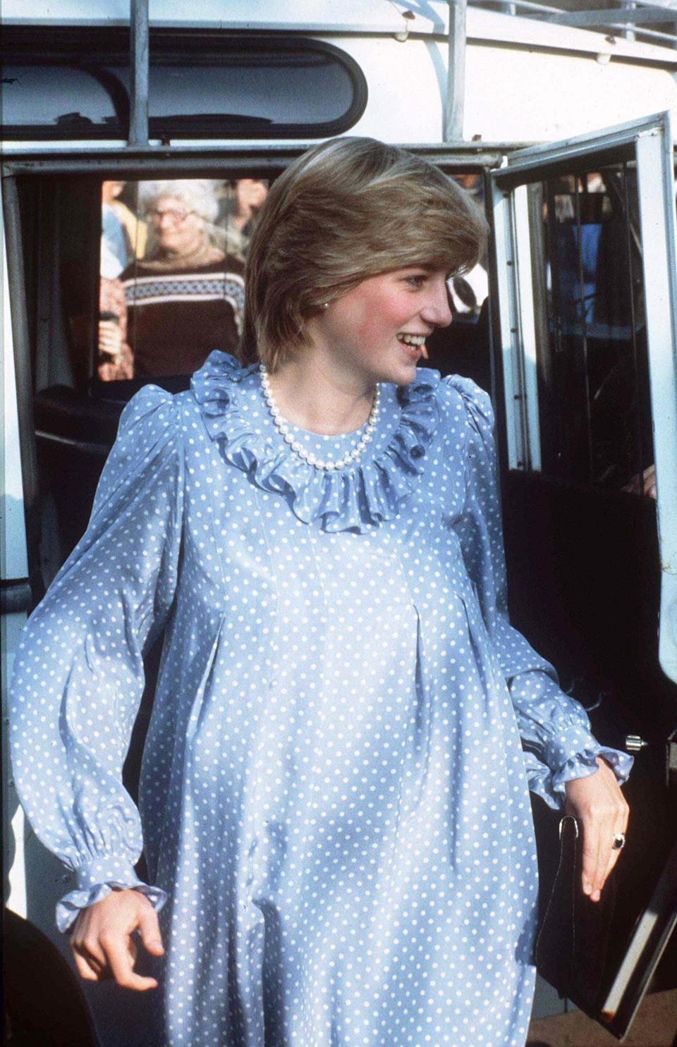 <p>The Princess of Wales wears a polka-dot maxi dress while seven months pregnant in the Isles of Scilly, U.K., in April 1984. (Photo: Getty Images) </p>