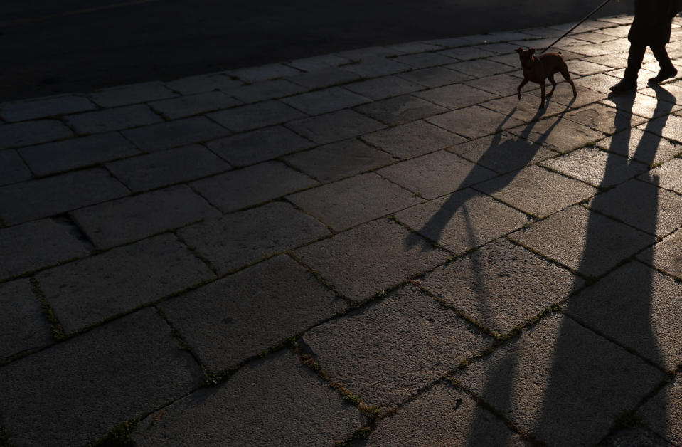 A woman walks with a dog through a deserted street during the curfew near the Serbian parliament building in downtown Belgrade, Serbia, Thursday, April 30, 2020. Serbia has reported 9,009 infections while 179 people have died. The Balkan country has started easing the measures but experts have warned that the situation is still volatile. (AP Photo/Darko Vojinovic)