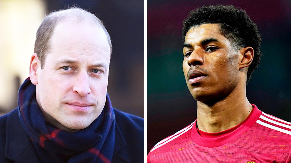 Prince William (pictured left) and Marcus Rashford (pictured right) during a match.