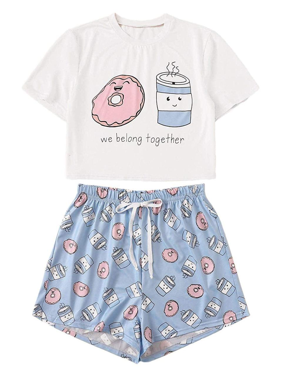 <p>The graphics on this <span>DIDK Coffee and Doughnut Pajama Set</span> ($21) are adorable, so you can prepare to get tons of compliments when wearing it. If your closet consists of basics that can work for most casual occasions, you can't go wrong with the purchase of this.</p>