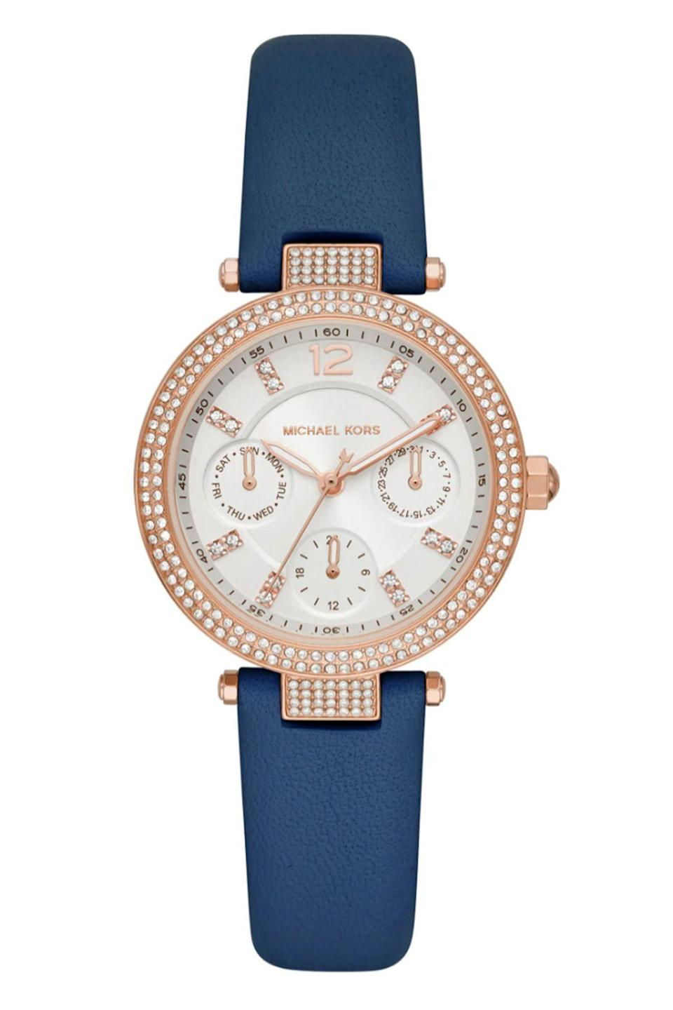 """<p><strong>Michael Kors</strong></p><p>nordstrom.com</p><p><strong>$225.00</strong></p><p><a href=""""https://go.redirectingat.com?id=74968X1596630&url=https%3A%2F%2Fwww.nordstrom.com%2Fs%2Fmichael-kors-parker-pave-leather-strap-watch-33mm%2F5620353&sref=https%3A%2F%2Fwww.townandcountrymag.com%2Fstyle%2Fjewelry-and-watches%2Fg36186288%2Fbest-rose-gold-watches-women%2F"""" rel=""""nofollow noopener"""" target=""""_blank"""" data-ylk=""""slk:Shop Now"""" class=""""link rapid-noclick-resp"""">Shop Now</a></p><p>Add this to your watch collection for the days when you want a colorful strap and a flattering rose gold watch face. </p>"""