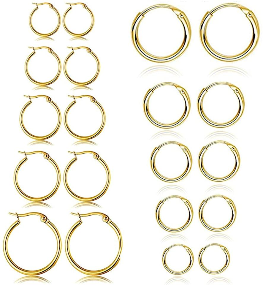 """<p>You can gift everyone a pair of these <product href=""""https://www.amazon.com/Stainless-Rounded-Earrings-Huggie-10MM-18MM/dp/B083GLDKT3/ref=asc_df_B083GLDKT3/?tag=hyprod-20&amp;linkCode=df0&amp;hvadid=416668285096&amp;hvpos=&amp;hvnetw=g&amp;hvrand=12643690211483480746&amp;hvpone=&amp;hvptwo=&amp;hvqmt=&amp;hvdev=c&amp;hvdvcmdl=&amp;hvlocint=&amp;hvlocphy=9030997&amp;hvtargid=pla-884610184061&amp;psc=1&amp;tag=&amp;ref=&amp;adgrpid=102396648388&amp;hvpone=&amp;hvptwo=&amp;hvadid=416668285096&amp;hvpos=&amp;hvnetw=g&amp;hvrand=12643690211483480746&amp;hvqmt=&amp;hvdev=c&amp;hvdvcmdl=&amp;hvlocint=&amp;hvlocphy=9030997&amp;hvtargid=pla-884610184061"""" target=""""_blank"""" class=""""ga-track"""" data-ga-category=""""internal click"""" data-ga-label=""""https://www.amazon.com/Stainless-Rounded-Earrings-Huggie-10MM-18MM/dp/B083GLDKT3/ref=asc_df_B083GLDKT3/?tag=hyprod-20&amp;linkCode=df0&amp;hvadid=416668285096&amp;hvpos=&amp;hvnetw=g&amp;hvrand=12643690211483480746&amp;hvpone=&amp;hvptwo=&amp;hvqmt=&amp;hvdev=c&amp;hvdvcmdl=&amp;hvlocint=&amp;hvlocphy=9030997&amp;hvtargid=pla-884610184061&amp;psc=1&amp;tag=&amp;ref=&amp;adgrpid=102396648388&amp;hvpone=&amp;hvptwo=&amp;hvadid=416668285096&amp;hvpos=&amp;hvnetw=g&amp;hvrand=12643690211483480746&amp;hvqmt=&amp;hvdev=c&amp;hvdvcmdl=&amp;hvlocint=&amp;hvlocphy=9030997&amp;hvtargid=pla-884610184061"""" data-ga-action=""""body text link"""">10 Pairs Small Hoop Earrings Set</product> ($13).</p>"""