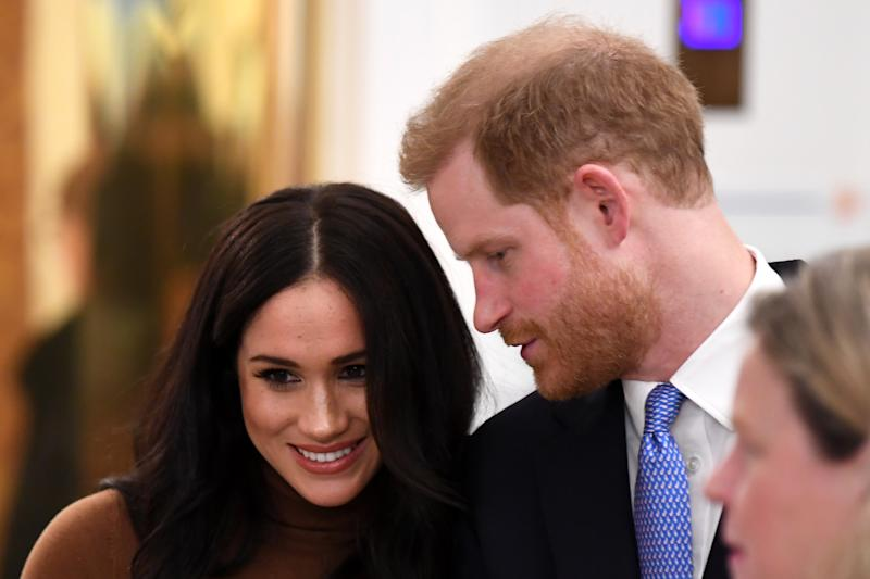 LONDON, UNITED KINGDOM - JANUARY 07: Prince Harry, Duke of Sussex and Meghan, Duchess of Sussex during their visit to Canada House in thanks for the warm Canadian hospitality and support they received during their recent stay in Canada, on January 7, 2020 in London, England. (Photo by DANIEL LEAL-OLIVAS - WPA Pool/Getty Images)