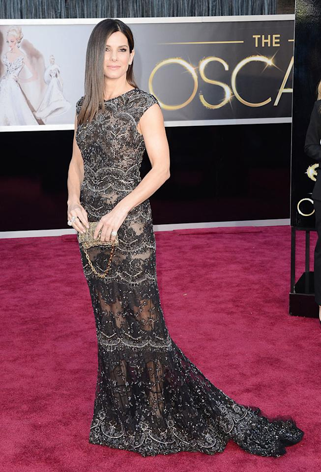 Sandra Bullock arrives at the Oscars in Hollywood, California, on February 24, 2013.