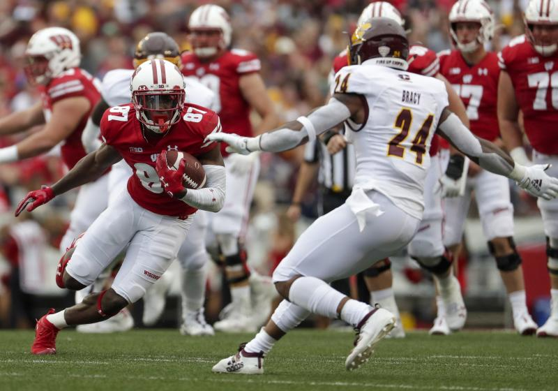 Wisconsin's Quintez Cephus catches a pass during the second half of an NCAA college football game against Central Michigan Saturday, Sept. 7, 2019, in Madison, Wis. (AP Photo/Morry Gash)