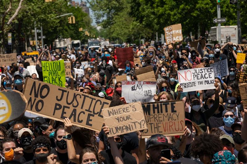 Protesters gather in Harlem, New York (Getty Images)