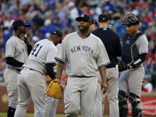 New York Yankees starting pitcher CC Sabathia is pulled from the baseball game during the fifth inning against the Texas Rangers on Wednesday, May 23, 2018, in Arlington, Texas. (AP Photo/Michael Ainsworth)