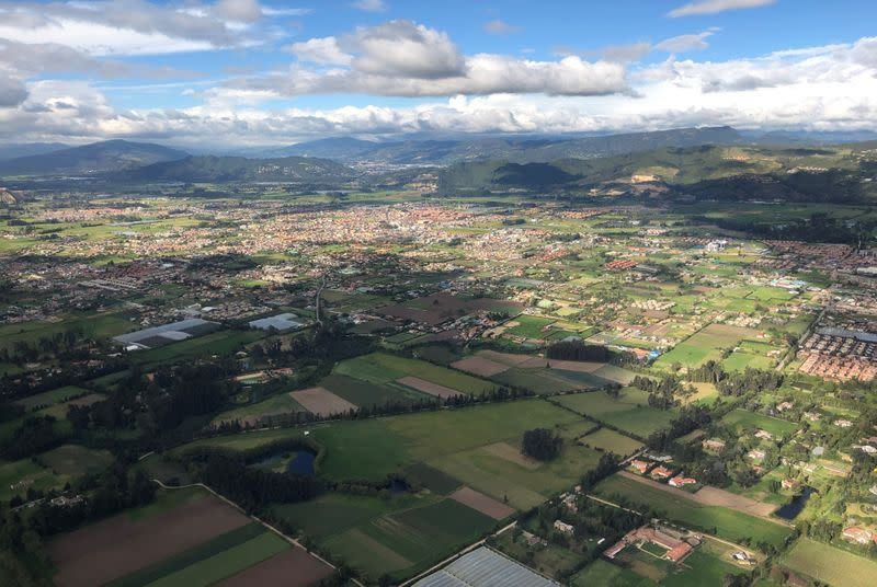 Aerial view of the Vichada department from an airplane that collects samples of the coronavirus disease (COVID-19) in villages with difficult access, in Vichada