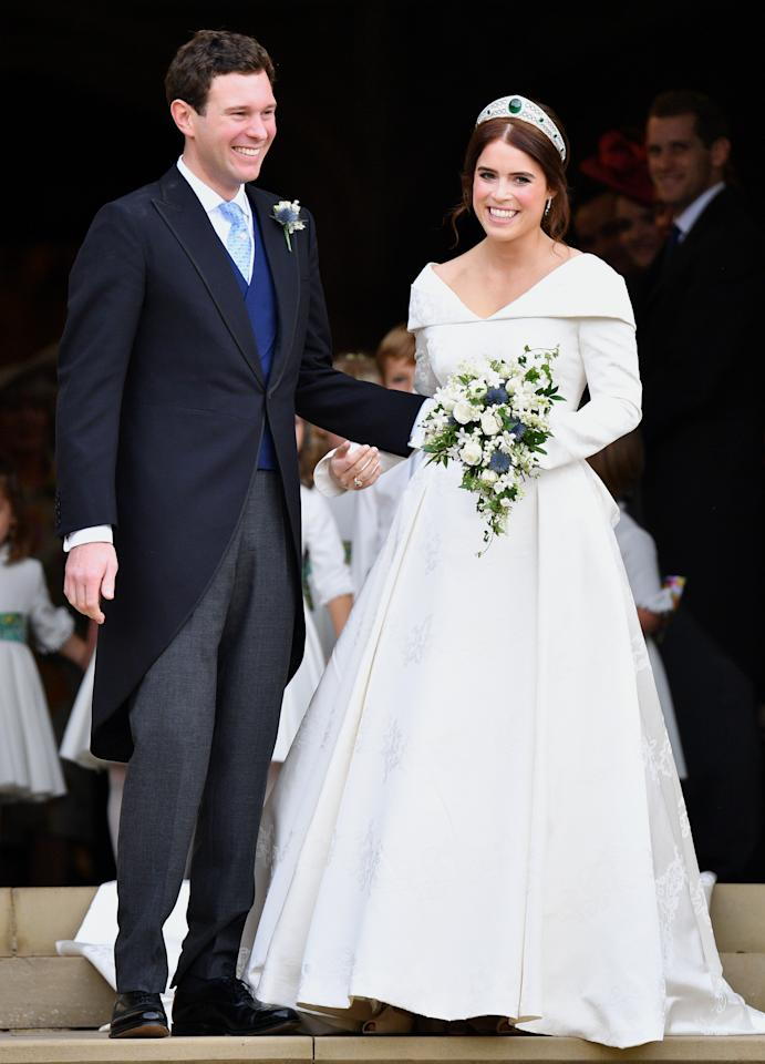 "<p><span>Queen Elizabeth's granddaughter Princess Eugenie – pronounced 'You-juh-nay' – made headlines this year for her televised wedding to Jack Brooksbank.</span><br /><span>The 28-year-old royal wed her longtime boyfriend in St. George's Chapel at Windsor Castle, the same venue as the wedding of her first cousin, Prince Harry and his wife, Meghan Markle. </span><br /><span>Eugenie opted for a custom gown by Peter Pilotto that was designed to showcase the scar on her back from surgery to correct her scoliosis. </span><br /><span>""[It's] a lovely way to honor the people who looked after me and a way of standing up for young people who also go through this,"" Eugenie </span><a rel=""nofollow"" href=""https://www.harpersbazaar.com/celebrity/latest/a23734263/princess-eugenie-scars-royal-wedding-dress/""><span>said</span></a><span> of her dress. ""I think you can change the way beauty is, and you can show people your scars.""</span><br /><span>Eugenie has ramped up her public image, and although she maintains a job at a London art gallery, the newlywed princess is building her online following and aligning herself as a royal-to-watch!</span><br /><span>(Image via Getty Images). </span> </p>"