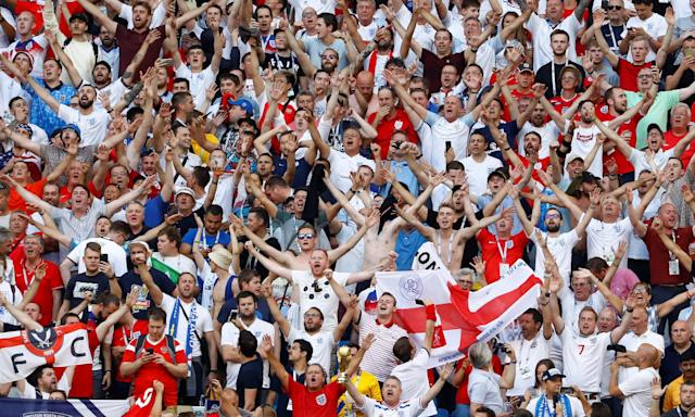 England fans during the World Cup quarter-final win over Sweden.