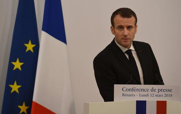 Not amused: Emmanuel Macron.