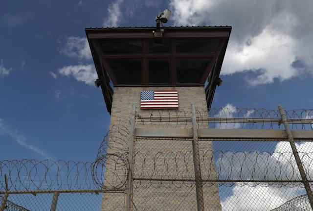 A guard tower at the entrance of the U.S. prison at Guantánamo Bay, Cuba. (Photo: John Moore/Getty Images)