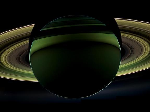 NASA's Cassini spacecraft has delivered a glorious view of Saturn, taken while the spacecraft was in Saturn's shadow.