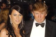 American property tycoon Donald Trump and Melania Knauss arrives for the Costume Institute Gala celebrating Dangerous Liasons: Fashion & Furniture in the 18th Century at the Metropolitan Museum of Art in New York City.