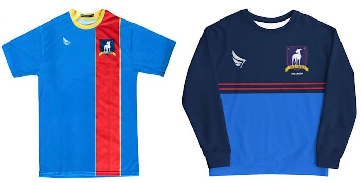 A soccer jersey and sweatshirt for AFC Richmond from ted Lasso