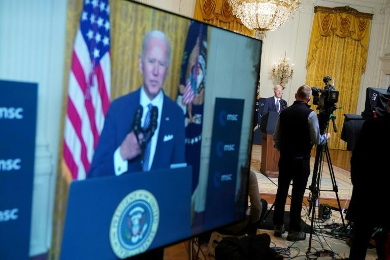Speaking from the White House via video link US President Joe Biden warned of threats from China and Russia