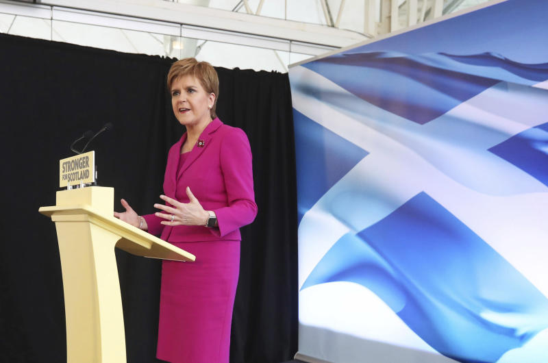 Scottish National Party (SNP) leader Nicola Sturgeon speaks at the launch of the party's General Election campaign, in Edinburgh, Scotland, Friday Nov. 8, 2019.  The Scottish National Party is officially launching its campaign for Britain's upcoming Dec. 12 election, with the SNP hoping to put Scotland a step closer to independence. (Andrew Milligan/PA via AP)