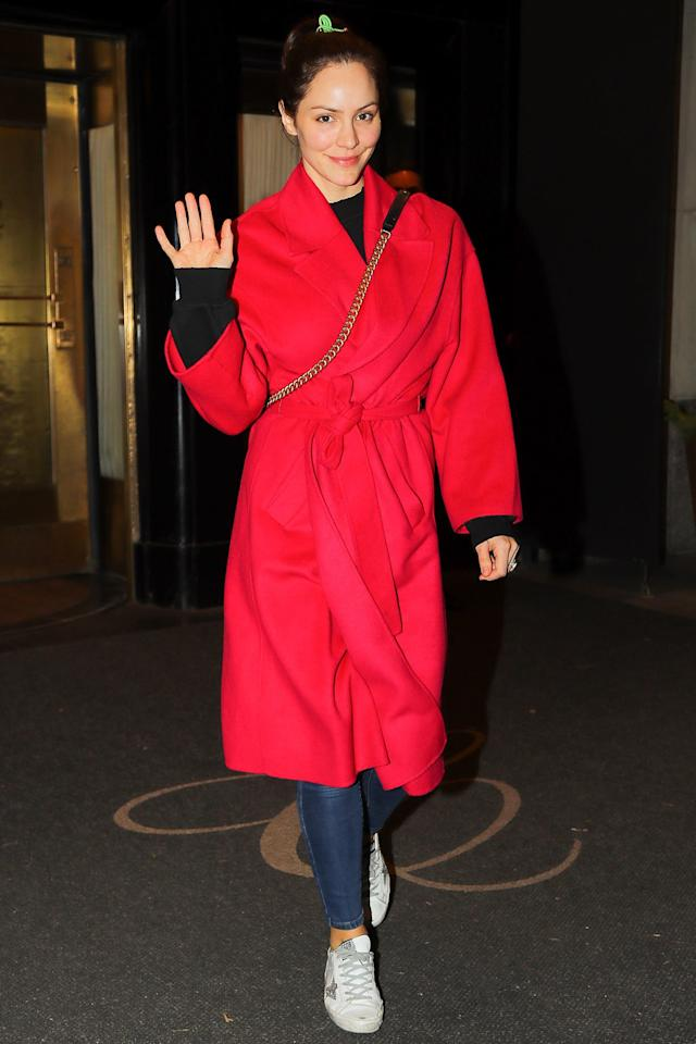Katharine McPhee appears in good spirits as she steps out in New York City on Friday.