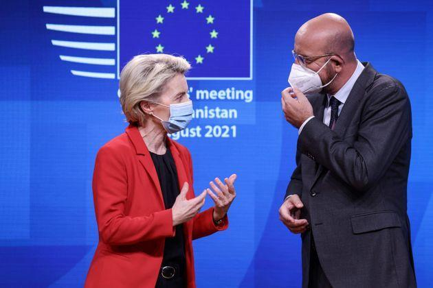 European Council President Charles Michel speaks with European Commission President Ursula von der Leyen after a press conference at the end of a virtual G7 summit to discuss the crisis in Afghanistan at The European Council Building in Brussels, on August 24, 2021. - An emergency meeting of the G7 leaders agreed that the Taliban will be held accountable for its actions in Afghanistan on protecting women's rights and preventing terrorism. (Photo by Kenzo TRIBOUILLARD / AFP) (Photo by KENZO TRIBOUILLARD/AFP via Getty Images) (Photo: KENZO TRIBOUILLARD via Getty Images)