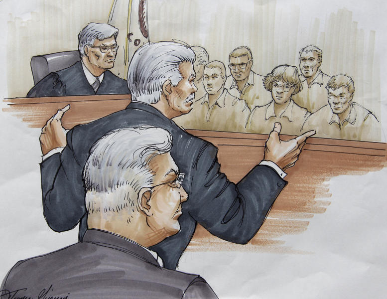 FILE - In this Tuesday, July 31, 2012 file courtroom sketch, Drew Peterson, foreground, looks on, as Will County State's Attorney James Glasgow gives his opening statement before Judge Edward Burmila and jurors, in Joliet, Ill., in Peterson's murder trial. Peterson is charged in the 2004 death of his third wife, Kathleen Savio. Jurors at the trial have been showing up wearing matching clothes. (AP Photo/Tom Gianni, File)