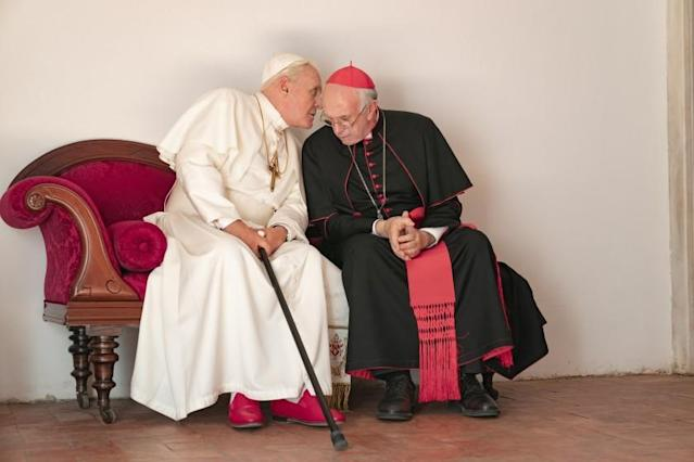 Anthony Hopkins and Jonathan Pryce in <em>The Two Pope</em>s. (Photo: Netflix)