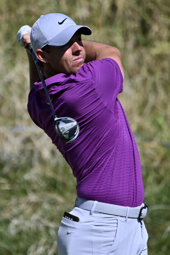 Rory McIlroy, of Northern Ireland, makes his tee shot on the second hole during the final round of the CJ Cup golf tournament at Shadow Creek Golf Course, Sunday, Oct. 18, 2020, in North Las Vegas. (AP Photo/David Becker)