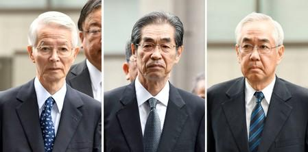 Combination picture shows former TEPCO Chairman Katsumata and Takekuro and Muto, former vice presidents of TEPCO, arriving at the Tokyo District Court in Tokyo