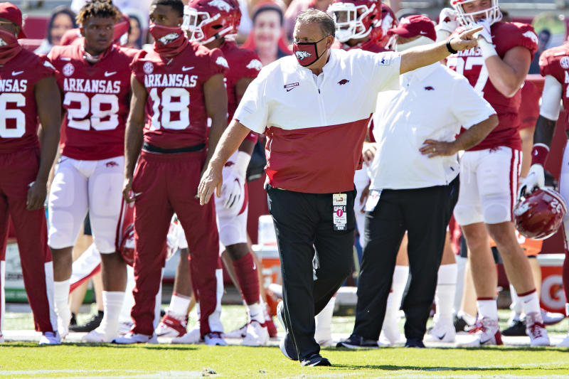 Arkansas coach Sam Pittman directs his team during warmups before a game against the Georgia Bulldogs at Razorback Stadium on Sept. 26. (Wesley Hitt/Getty Images)