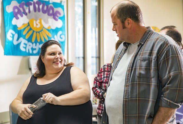 "Chrissy Metz as Kate and Chris Sullivan as Toby on ""This Is Us."" (NBC)"