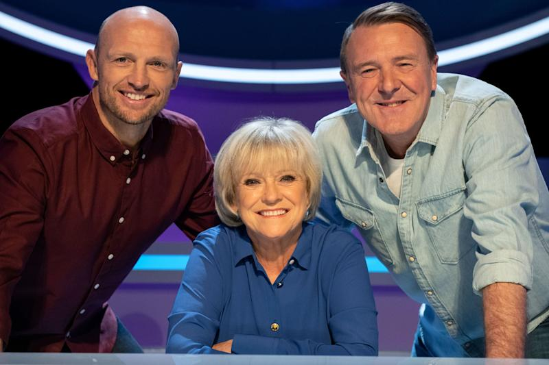 Sue Barker with 'A Question of Sport' team captains Matt Dawson (left) and Phil TufnellPA