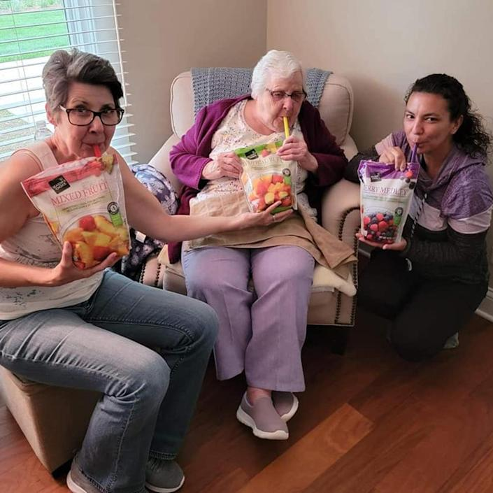 Tracy Thomas says she knew surprising her 93-year-old grandmother, Marge, with her own adult juice pouch would be a Mother's Day hit — and it was. (Traci Brooks Thomas)
