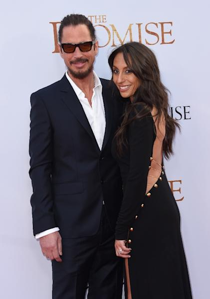 Chris Cornell and his wife Vicky Karayiannis, pictured in April 2017 (AFP Photo/CHRIS DELMAS)
