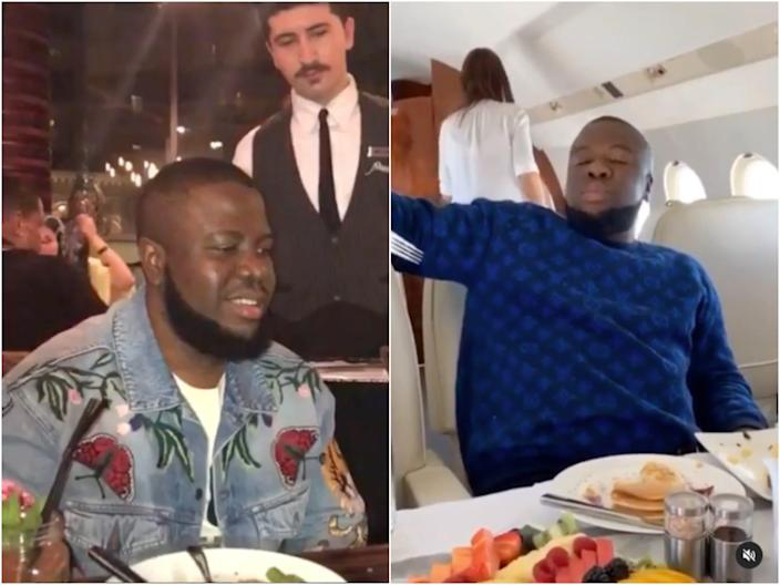 Ramon Abbas in a restaurant and on a private jet.