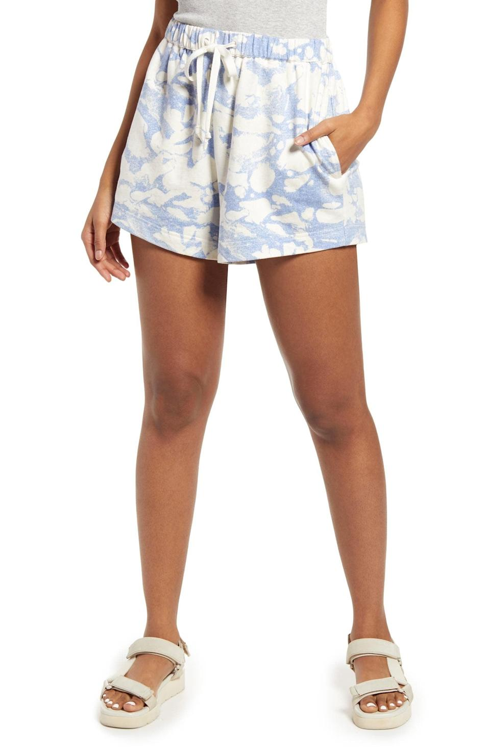 <p>Don't forget to include the matching and ultracomfortable <span>Open Edit Bleach Splatter Drawstring Shorts</span> ($39).</p>
