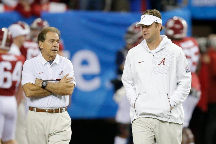 Nick Saban and Lane Kiffin had their share of animated disagreements on the Alabama sideline. (Getty)