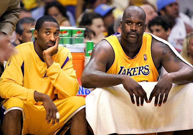 Things were a little testier during their Lakers days together. (Getty)