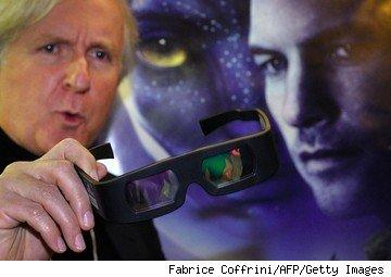 Director James Cameron with 3-D glasses before a showing of Avatar.
