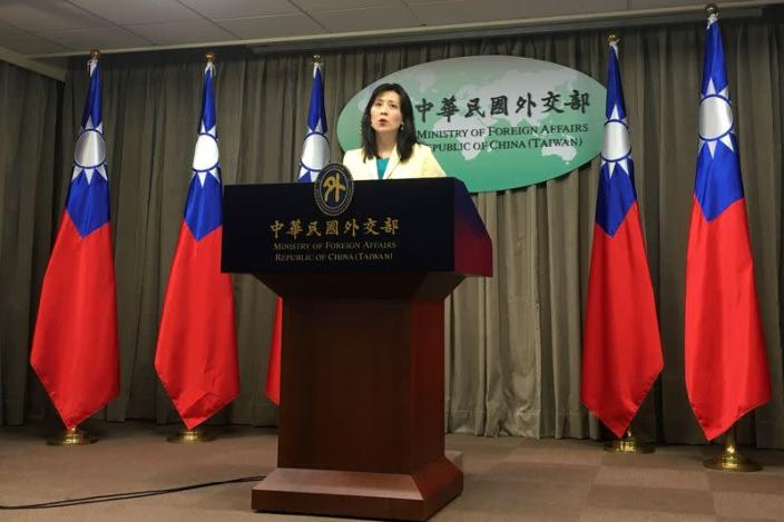 Taiwan Foreign Ministry Spokeswoman Joanne Ou speaks at a news conference in Taipei